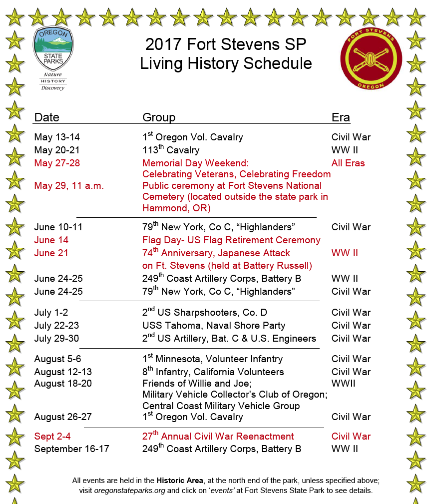 2017 living history schedule friends of old fort stevens